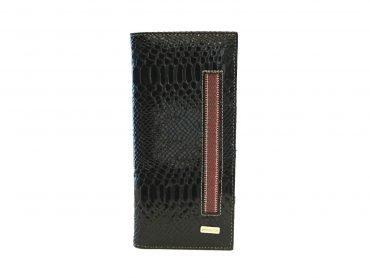Porta pasaporte en charol color negro y telar andino