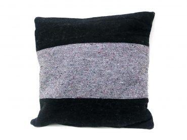 Funda de cojín en textil reciclado negro y gris