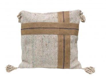Funda de cojín en textil reciclado y yute