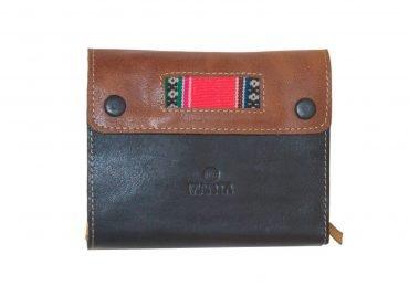 Libreta para notas en cuero color negro y marrón con telar andino