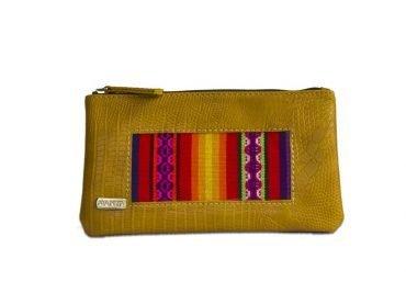 Porta cosmético en pu y telar peruano