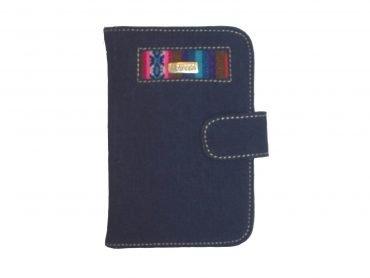 Porta pasaporte en denim con telar andino