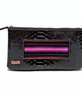 Porta cosméticos en sintetico dorado y detalle de cinta de telar andino